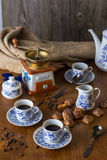 Insieme di caffè con caffè caldo Immagine Stock