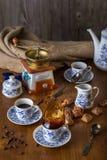 Insieme di caffè con caffè caldo Fotografie Stock