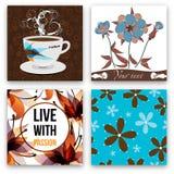 Insieme di caffè con i fiori Immagine Stock