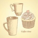 Insieme di caffè di schizzo nello stile d'annata Fotografia Stock Libera da Diritti