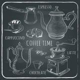 Insieme di caffè disegnato a mano royalty illustrazione gratis