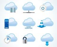 Insieme di calcolo dell'icona della nube Immagine Stock