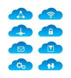 Insieme di calcolo dell'icona di tecnologia della nuvola isolato su fondo bianco Immagine Stock Libera da Diritti