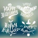 Insieme di calligrafia del segno di Halloween scrittura su fondo vago Fotografia Stock