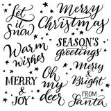 Insieme di calligrafia di Natale della mano Immagine Stock