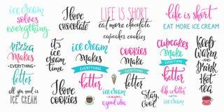 Insieme di calligrafia di tipografia dell'iscrizione della bevanda dell'alimento Immagine Stock Libera da Diritti
