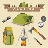 Insieme di campeggio Fotografie Stock