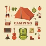 Insieme di campeggio Fotografie Stock Libere da Diritti
