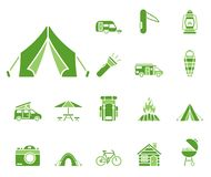Insieme di campeggio dell'icona royalty illustrazione gratis