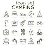 Insieme di campeggio dell'icona Immagini Stock