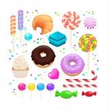 Insieme di Candy isolato su bianco Illustrazione di vettore Candy, croissa immagini stock