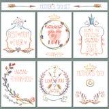 Insieme di carta d'annata Decorazione floreale della matita Giorno di madri Fotografie Stock Libere da Diritti