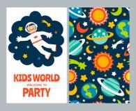 Insieme di carta degli astronauti dei bambini Fotografie Stock Libere da Diritti