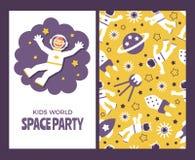 Insieme di carta degli astronauti dei bambini Immagini Stock Libere da Diritti