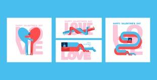 Insieme di carta del biglietto di S. Valentino Cartolina d'auguri di giorno dei biglietti di S amanti Amore della donna e dell'uo illustrazione di stock