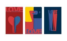 Insieme di carta del biglietto di S. Valentino Cartolina d'auguri di giorno dei biglietti di S amanti Amore della donna e dell'uo royalty illustrazione gratis