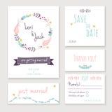 Insieme di carta dell'invito di nozze illustrazione vettoriale