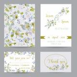 Insieme di carta dell'invito o di congratulazione di nozze illustrazione vettoriale