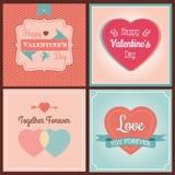 Insieme di carta felice di giorno di biglietti di S. Valentino Fotografie Stock Libere da Diritti