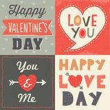 Insieme di carta tipografico del biglietto di S. Valentino dei pantaloni a vita bassa svegli Fotografie Stock Libere da Diritti