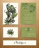 Insieme di carta tropicale dell'invito di nozze delle foglie di palma Illustrazione di Stock