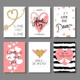 Insieme di carte artistico creativo di giorno del ` s del biglietto di S. Valentino Illustrazione di vettore Fotografia Stock