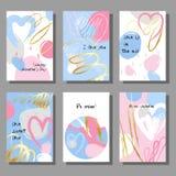 Insieme di carte artistico creativo di giorno del ` s del biglietto di S. Valentino Illustrazione di vettore Immagini Stock Libere da Diritti