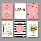 Insieme di carte artistico creativo di giorno del ` s del biglietto di S. Valentino Illustrazione di vettore Fotografie Stock