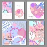 Insieme di carte artistico creativo di giorno del ` s del biglietto di S. Valentino Illustrazione di vettore Immagini Stock