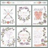 Insieme di carte d'annata Decorazione floreale di scarabocchio Giorno di madri Fotografie Stock