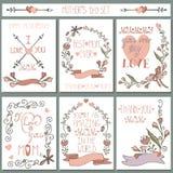 Insieme di carte d'annata Decorazione floreale di scarabocchio Giorno di madri Fotografie Stock Libere da Diritti