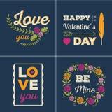 Insieme di carte dei biglietti di S. Valentino Fotografia Stock Libera da Diritti