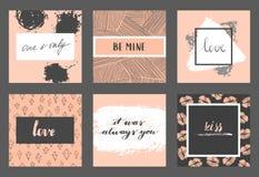Insieme di carte del biglietto di S. Valentino Fotografia Stock Libera da Diritti