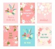 Insieme di carte del biglietto di S. Valentino Immagini Stock Libere da Diritti