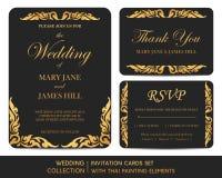 Insieme di carte dell'invito di nozze con pittura tailandese Immagine Stock