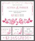 Insieme di carte dell'invito di nozze Fiori rosa dell'acquerello, numeri illustrazione vettoriale