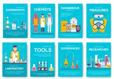 Insieme di carte dell'opuscolo dei chimici di rischio biologico modello di flyear, rivista, manifesto, copertina di libro, insegn illustrazione di stock