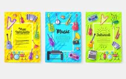 Insieme di carte dell'opuscolo di vettore degli strumenti di musica L'audio foggia il modello di flyear, riviste, manifesto, cope royalty illustrazione gratis