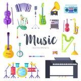 Insieme di carte dell'opuscolo di vettore degli strumenti di musica L'audio foggia il modello di flyear, riviste, manifesto, cope illustrazione vettoriale