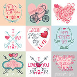 Insieme di carte di giorno di madri Frecce, elementi della decorazione Immagini Stock Libere da Diritti