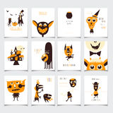 Insieme di carte di Halloween Immagini Stock Libere da Diritti