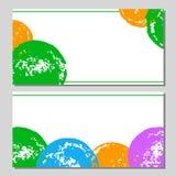 Insieme di carte disegnato a mano dei cerchi di lerciume variopinto su bianco, vettore Immagini Stock Libere da Diritti