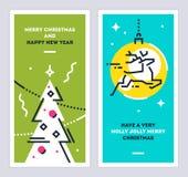 Insieme di carte lineare del nuovo anno e di Natale con l'albero di Natale ed i cervi correnti Insieme dei modelli di natale Vett Fotografia Stock Libera da Diritti