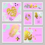 Insieme di carte tropicale di scintillio dorato Memphis Abstract Poster, Fotografia Stock