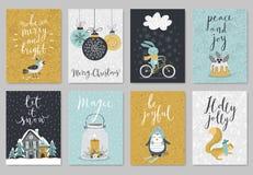 Insieme di cartolina di Natale, stile disegnato a mano royalty illustrazione gratis