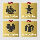 Insieme di cartoline di Natale Fotografie Stock