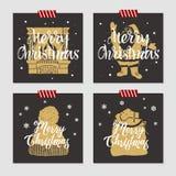 Insieme di cartoline di Natale Immagine Stock Libera da Diritti
