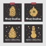 Insieme di cartoline di Natale Immagini Stock Libere da Diritti