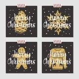 Insieme di cartoline di Natale Immagine Stock