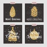 Insieme di cartoline di Natale Fotografia Stock Libera da Diritti